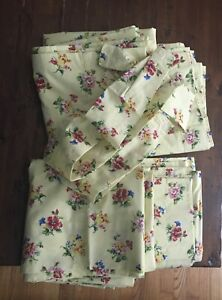 Laura Ashley Yellow Floral  4 Lined Drapes Curtain Panels With Tie Backs 2 Pairs