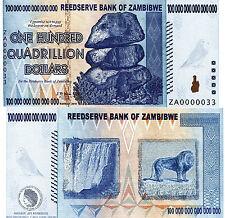 ZAMBIBWE 100 Quadrillion Dollars Fun-Fantasy Note 2016 Private Issue REPLACEMENT