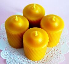4 100% PURE Beeswax Votive Candles Natural Premium SPA quality homemade