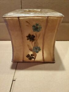 Vtg India Ink Dry Flowers Tissue Box Cover Acrylic
