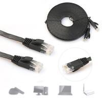 5M Cat6 RJ45 Ultradünne flache Ethernet-Netzwerkkabel Patch Internet Lan Schwarz