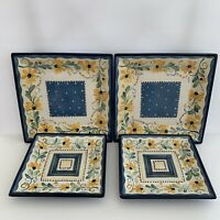 Tabletops Gallery Bella Flora 4 Square Blue/Yellow Floral Plates (Dinner/Salad)