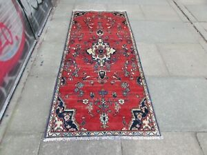 Vintage Traditional Hand Made Oriental Red Wool Short Narrow Runner 206x91cm