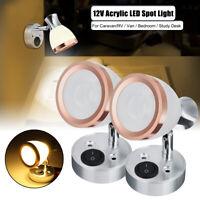 For Boat Caravan RV Truck 2x 12V Interior LED Spot Light Reading Lamp Warm Light