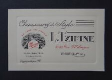 Carte de visite TZIPINE Chaussure de style shoe PARIS Mélingue old visit card