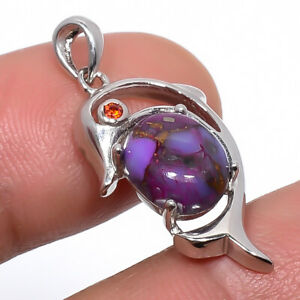 """Copper Mohave Purple Turquoise & Garnet Sterling Silver Dolphin Pendant 1.18"""" P5"""