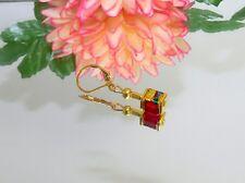 OHRSCHMUCK Ohrhänger Würfel Hämatit gold Glas marmoriert ROT türkis grün 068b