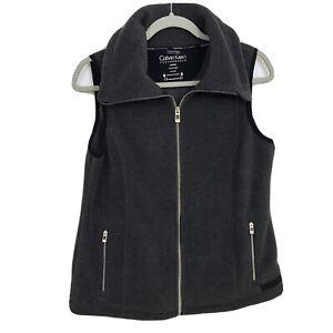Calvin Klein Performance Fleece Vest Womens M Headphone Access Cell Phone Pocket