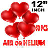"50 PCS 12"" Red Heart Love Latex Balloons Wedding Birthday Party Valentines"