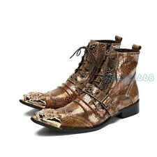 Punk Men metal Pointy Toe Lace up Chukka Buckle Strap Ankle Boots Shoes