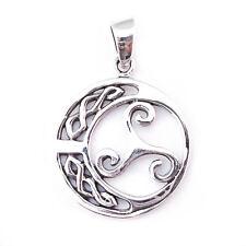 Luna De Plata Maciza Celta Trisquel Triskelion Colgante Vikingo guerreros Shield P016