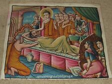 Antique Large Indian Krishna Spiritual Hindu God Oil Painting on Canvas Cloth