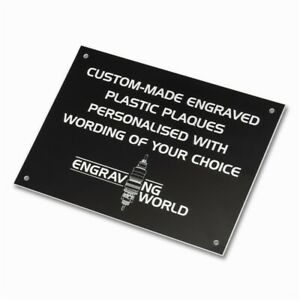 203mm x 152mm Personalised Engraving Engraved Plastic Plaque Sign (Black/White)