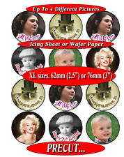 """12 LARGE XL Personalised photo picture 2.5"""" or 3"""" PRE-CUT cupcake toppers"""