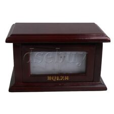 Pet Cremation Urn Memorial Flip-Open Box with Photo Frame Dark Brown