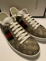 NEW GUCCI MEN'S ACE GG SUPREME BEES SNEAKERS SIZE G12