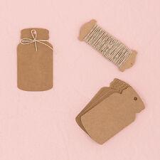 12 Kraft Mason Jar Shaped Rustic Wedding Party Favor Tags with Twine Q27462