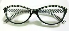 Handmade Black & White Check Reading Glasses Readers 1.50 courtly crystal