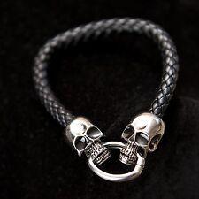Men's Black Leather Stainless Steel Bracelet Skull Head Clasp Jewellery Gift UK