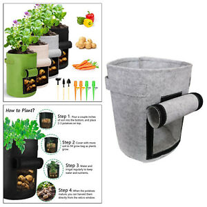 Plant Grow Bags with Heavy Duty Handle, Garden Nonwoven Fabric Pot Container