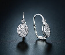 Huggie Earrings Made With Swarovski Elements Sevil 18K White Gold Plated Circle