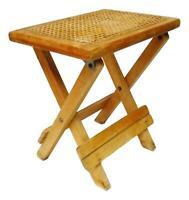 sgabello in legno e paglia di vienna richiudibile vintage anni 70 -4 disponibili