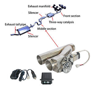"""2.5"""" Electric Exhaust Downpipe Cutout E-Cut Out Dual-Valve Remote"""