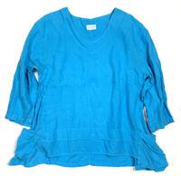 Mosaic Womens XL Linen Blue Asymmetrical Tunic Top Shirt 3/4 Sleeve Lagenlook