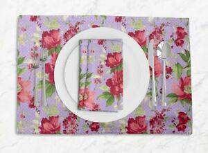 S4Sassy Dot,Leaves & Delphinium Floral Printed Tablemats With Napkins Set-FL-96D