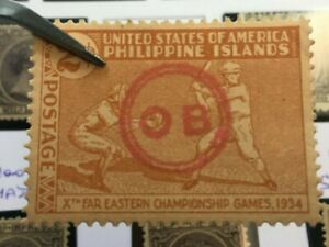 1934 PHILIPPINES/US Possession Stamp Scott 380 OB HANDSTAMPED Official x2 Circle