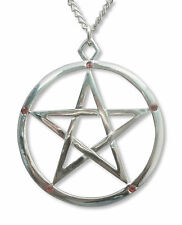 Pentacle with Red Crystals Medieval Renaissance Pendant Necklace NK-516