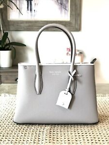 KATE SPADE LEATHER EVA SMALL TOP ZIP SATCHEL BAG IN SOFT TAUPE NEW WITH TAG