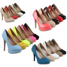 Damen Plateau Pumps Nieten High Heels Stilettos 72267 Schuhe