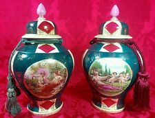 Gorgeous! Royal Vienna Style Romantic Figures Ornate Gold Covered Jar Vase Set