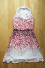 Esprit Kleid Plissee Party Blümchen Hippie pink weiß Gr XS / 34 - neuwertig