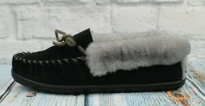 LL Bean Women Black Wicked Good Moccasin Shearling Lined Suede Slippers Size 10