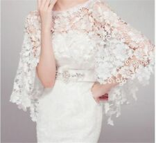 Short Sleeves White Ivory Lace Applique Wedding Bolero Shrug Jacket Stole Shawl