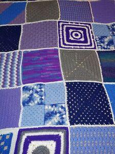 Handmade Crochet Afghan Throw Blanket Purple Gray Blue White with cross