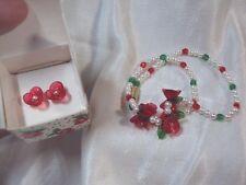 vintage Precious Rose pink white pearl flower stud earrings + necklace Avon 1989
