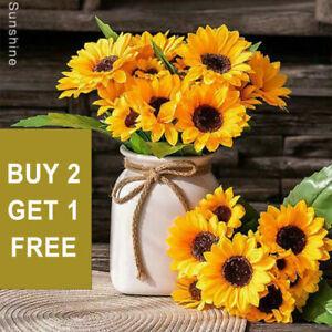 13 head Sunflower Artificial Bouquet Real Touch Flower Garden Party Wedding Home