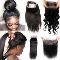 Pre Plucked 360 Lace Closure Frontal Ear TO Ear Brazilian Human Hair Long F496