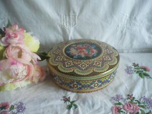 Ancienne boite ronde biscuit bonbon fer tole métal mosaique fleur 22cm