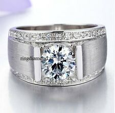 Ring Fathers Day 925 Sterling Silver 2 Ct Near White Moissanite Mens Engagement