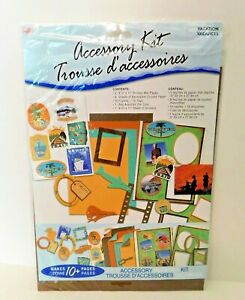 Vacation Scrapbook Page Kit 8.5x11 Paper Stickers Die Cuts Frames Tags