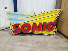 "Large Neon Sign, Sonic Logo 8'6"" long, 4' Tall, And 15""Deep, All Lighting Works"