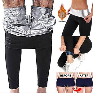 Damen Neopren Sauna Hose Schwitzhose Thermoeffekt Abnehmen Hose Leggins Yogahose