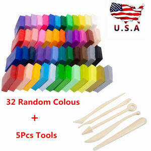 32 Color Oven Bake Modelling Polymer Clay Block Moulding Sculpey Toy Tool Set US