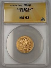 1926-SA South Africa One Sovereign Gold Coin ANACS MS-63