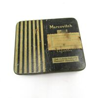 Vintage Marcovitch Cigarettes Black Empty Tin Box