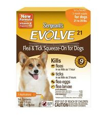 SERGEANT'S EVOLVE 21* Flea & Tick SQUEEZE-ON 3 Month Supply FOR DOGS 21-39 lbs